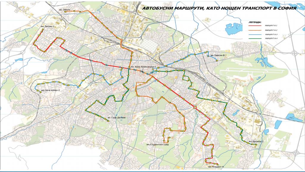 карта на нощния градски транспорт в София